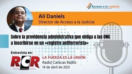 Sobre providencia administrativa que obliga a las ONG a inscribirse en un «registro antiterrorista»