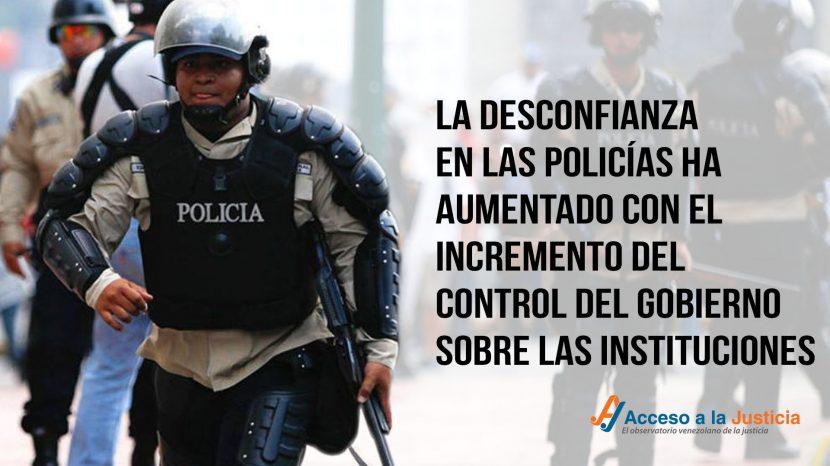 La desconfianza en las policías ha aumentado con el incremento del control del Gobierno sobre las instituciones